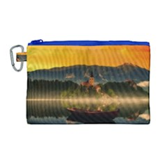 Bled Slovenia Sunrise Fog Mist Canvas Cosmetic Bag (large)