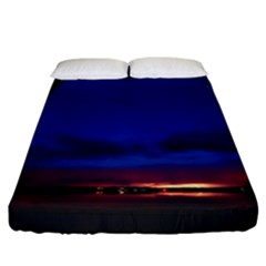 Canada Lake Night Evening Stars Fitted Sheet (california King Size) by BangZart