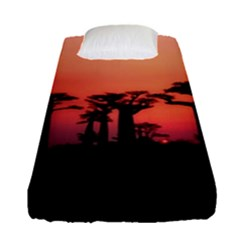 Baobabs Trees Silhouette Landscape Fitted Sheet (single Size) by BangZart