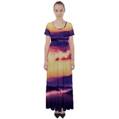 Great Smoky Mountains National Park High Waist Short Sleeve Maxi Dress