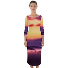 Great Smoky Mountains National Park Quarter Sleeve Midi Bodycon Dress