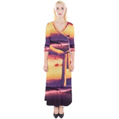 Great Smoky Mountains National Park Quarter Sleeve Wrap Maxi Dress