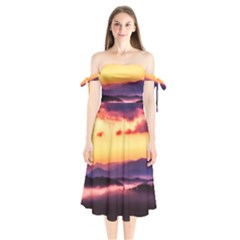 Great Smoky Mountains National Park Shoulder Tie Bardot Midi Dress