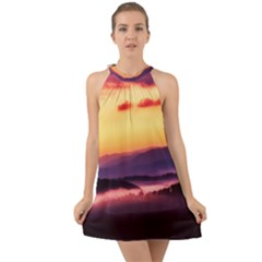 Great Smoky Mountains National Park Halter Tie Back Chiffon Dress