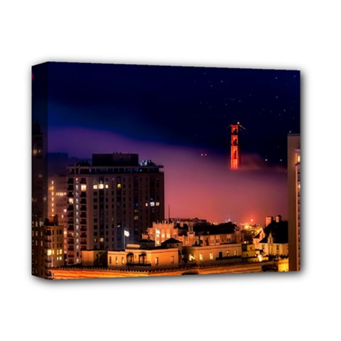 San Francisco Night Evening Lights Deluxe Canvas 14  X 11
