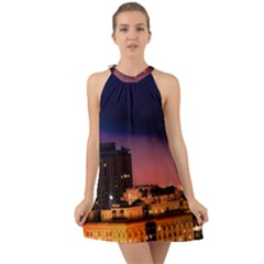 San Francisco Night Evening Lights Halter Tie Back Chiffon Dress