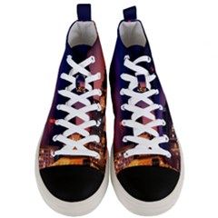 San Francisco Night Evening Lights Men s Mid Top Canvas Sneakers