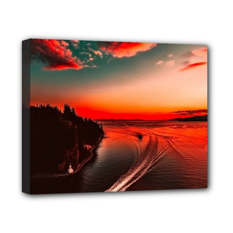Sunset Dusk Boat Sea Ocean Water Canvas 10  X 8  by BangZart