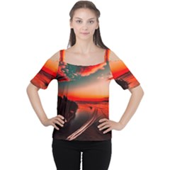Sunset Dusk Boat Sea Ocean Water Cutout Shoulder Tee by BangZart