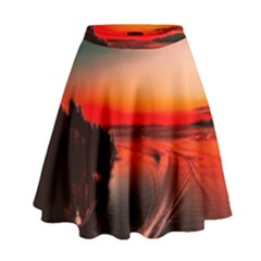 Sunset Dusk Boat Sea Ocean Water High Waist Skirt