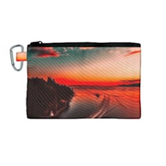 Sunset Dusk Boat Sea Ocean Water Canvas Cosmetic Bag (medium)