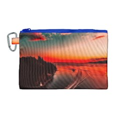 Sunset Dusk Boat Sea Ocean Water Canvas Cosmetic Bag (large)