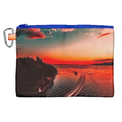 Sunset Dusk Boat Sea Ocean Water Canvas Cosmetic Bag (xl) by BangZart