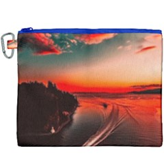 Sunset Dusk Boat Sea Ocean Water Canvas Cosmetic Bag (xxxl)