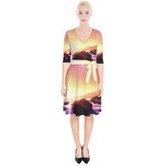 California Sea Ocean Pacific Wrap Up Cocktail Dress