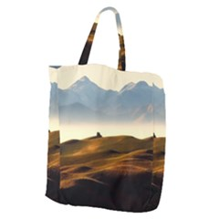 Landscape Mountains Nature Outdoors Giant Grocery Zipper Tote
