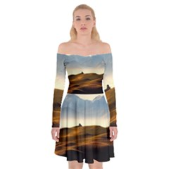 Landscape Mountains Nature Outdoors Off Shoulder Skater Dress