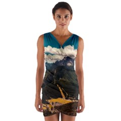 Italy Valley Canyon Mountains Sky Wrap Front Bodycon Dress
