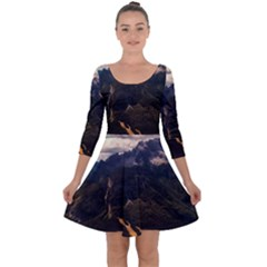 Italy Valley Canyon Mountains Sky Quarter Sleeve Skater Dress
