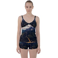 Italy Valley Canyon Mountains Sky Tie Front Two Piece Tankini