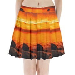 Alabama Sunset Dusk Boat Fishing Pleated Mini Skirt