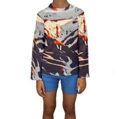 Iceland Landscape Mountains Snow Kids  Long Sleeve Swimwear by BangZart