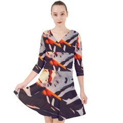 Iceland Landscape Mountains Snow Quarter Sleeve Front Wrap Dress