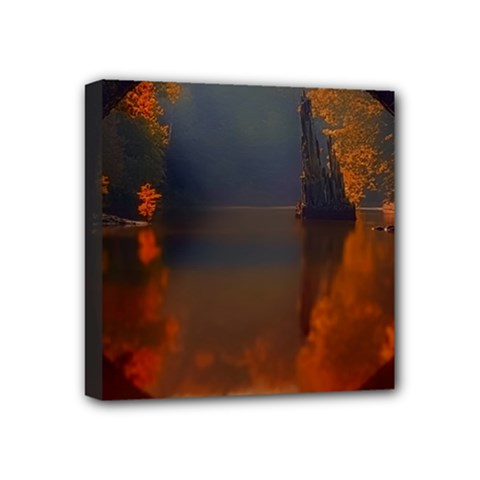 River Water Reflections Autumn Mini Canvas 4  X 4  by BangZart