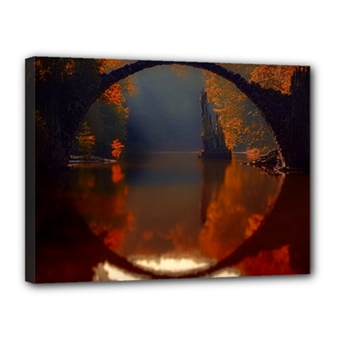 River Water Reflections Autumn Canvas 16  X 12