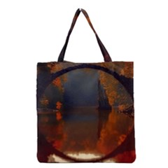 River Water Reflections Autumn Grocery Tote Bag by BangZart