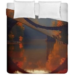 River Water Reflections Autumn Duvet Cover Double Side (california King Size) by BangZart