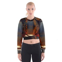 River Water Reflections Autumn Cropped Sweatshirt
