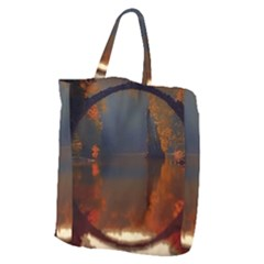 River Water Reflections Autumn Giant Grocery Zipper Tote