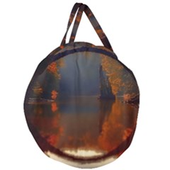 River Water Reflections Autumn Giant Round Zipper Tote