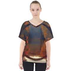 River Water Reflections Autumn V Neck Dolman Drape Top