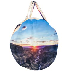 Iceland Landscape Mountains Stream Giant Round Zipper Tote