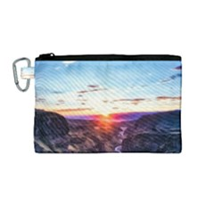 Iceland Landscape Mountains Stream Canvas Cosmetic Bag (medium)