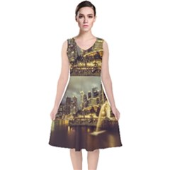 Singapore City Urban Skyline V Neck Midi Sleeveless Dress