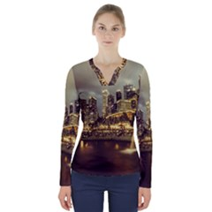 Singapore City Urban Skyline V Neck Long Sleeve Top