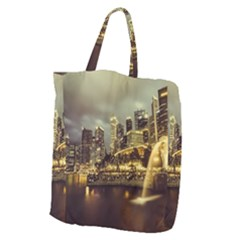 Singapore City Urban Skyline Giant Grocery Zipper Tote