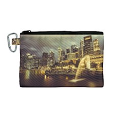Singapore City Urban Skyline Canvas Cosmetic Bag (medium)