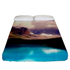 Austria Mountains Lake Water Fitted Sheet (king Size)