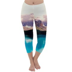 Austria Mountains Lake Water Capri Winter Leggings