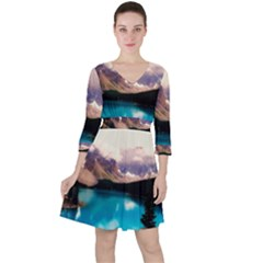 Austria Mountains Lake Water Ruffle Dress