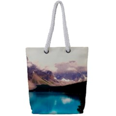 Austria Mountains Lake Water Full Print Rope Handle Tote (small)