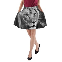 Africa Lion Male Closeup Macro A Line Pocket Skirt by BangZart
