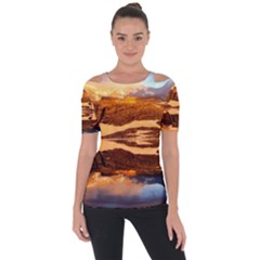 France Snow Winter Sunrise Fog Short Sleeve Top