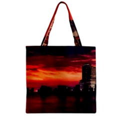 New York City Urban Skyline Harbor Zipper Grocery Tote Bag by BangZart