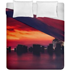 New York City Urban Skyline Harbor Duvet Cover Double Side (california King Size) by BangZart