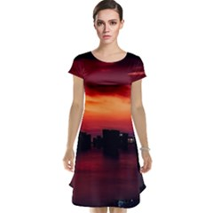 New York City Urban Skyline Harbor Cap Sleeve Nightdress by BangZart